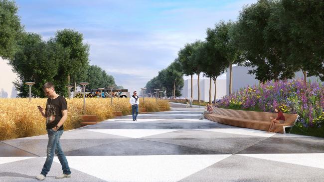 Реконструкция бульвара Цанова в город Тверь. Проект, 2016 год © Архитектор Никита Маликов
