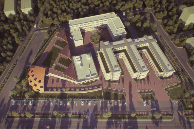Госпиталь «Новейшие технологии». Проект, 2010 год. Совместный проект с инвесторами из США. Изображение предоставлено Никитой Маликовым