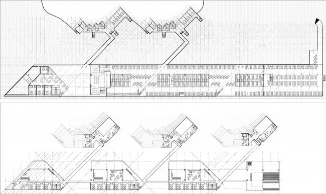 Диплом I степени. Вероника Гаврикова. Дипломный проект «Научно-технологический кластер на ул. Вавилова в Москве». Планы на уровне 1 и 9 этажей жилой группы.