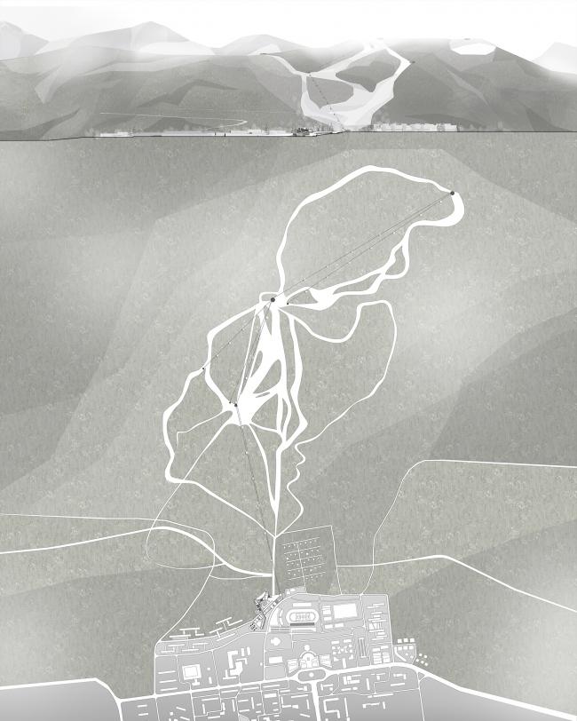 Диплом II степени. Алина Клитина. Дипломный проект «Горнолыжный рекреационно-спортивный комплекс в г. Южно-Сахалинск». Общий генеральный план и строчка со стороны города.