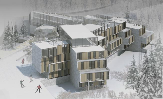 Диплом II степени. Алина Клитина. Дипломный проект «Горнолыжный рекреационно-спортивный комплекс в г. Южно-Сахалинск». Вид со стороны горнолыжных трасс.