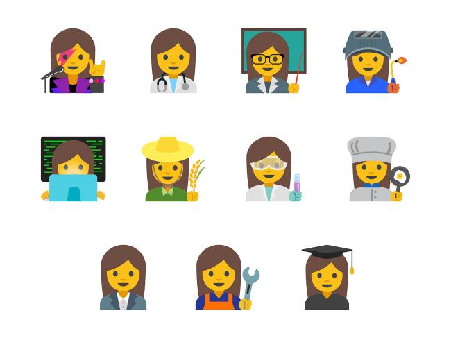 Эмодзи женщин разных профессий © Google