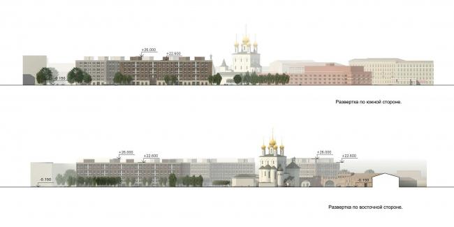 ЖК «Царская столица». 1 очередь. Развертки по южной и восточной сторонам © Евгений Герасимов и партнеры