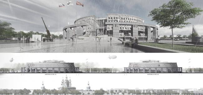 Проект музейного комплекса «Оборона и блокада Ленинграда» © Архитектурная мастерская Мамошина. Изображение предоставлено Комитетом по градостроительству и архитектуре Санкт-Петербурга.