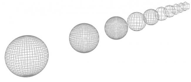 Рис. 20. Объект с разной аппроксимацией в зависимости от расстояния в 3D-окне