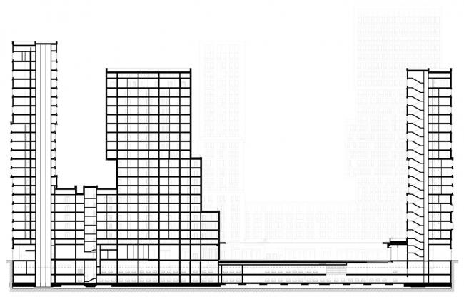 """""""Vander Park"""" housing complex. Section view © APEX project bureau"""