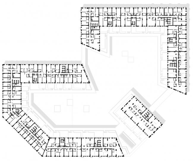 """Vander Park"" housing complex. Plan of the 2-nd floor © APEX project bureau"