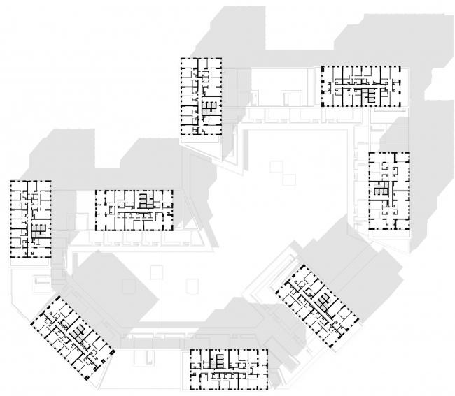 ЖК Vander Park. План 19-го этажа © Проектное бюро АПЕКС