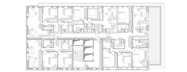 """Vander Park"" housing complex. Plan of the section of the 11-th floor © APEX project bureau"