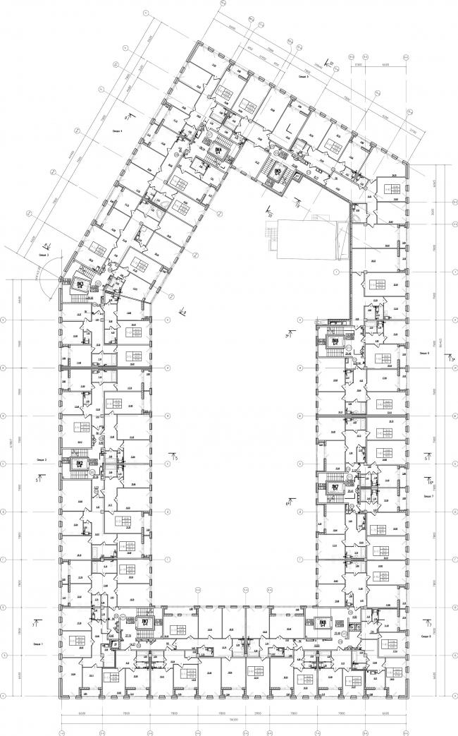 ЖК «Царская столица». 1 очередь, 1 А, типовой этаж © Евгений Герасимов и партнеры