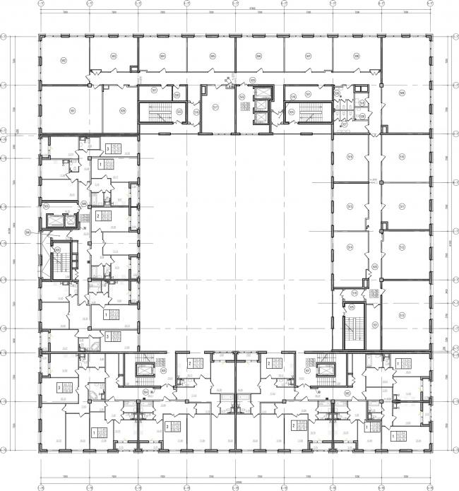 ЖК «Царская столица». 3 очередь. 7В7Г типовой этаж © Евгений Герасимов и партнеры