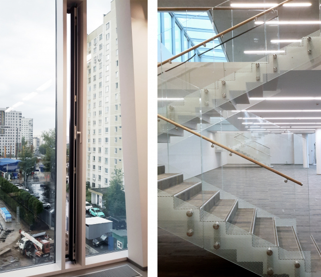 Слева – щель для проветривания, справа одна из лестниц. Хорошевская гимназия, А-Проект. Фотография © Мария Трошина
