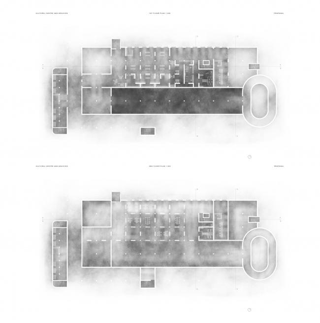 Проект Полины Муравинской, 2 курс БВШД.  Культурный центр и архив. Изображение предоставлено БВШД