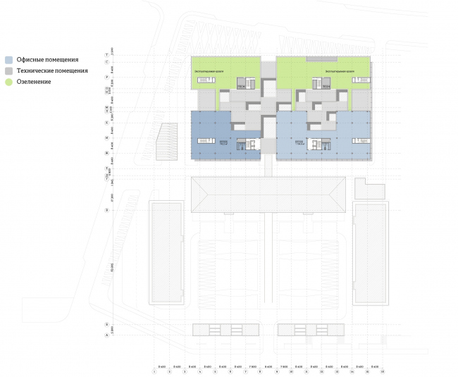 """""""Yolki-Park"""" multifuctional complex. Plan of the 7th floor © The Fourth Dimension"""