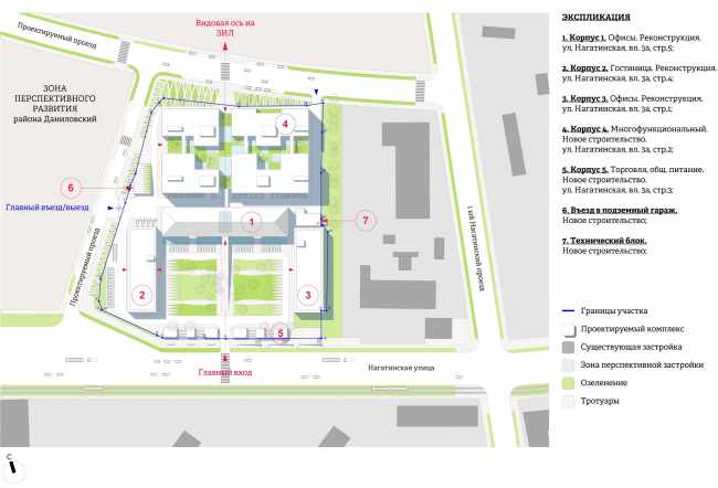 """""""Yolki-Park"""" multifuctional complex. Master plan with regard to prospective development of the street and road network © The Fourth Dimension"""