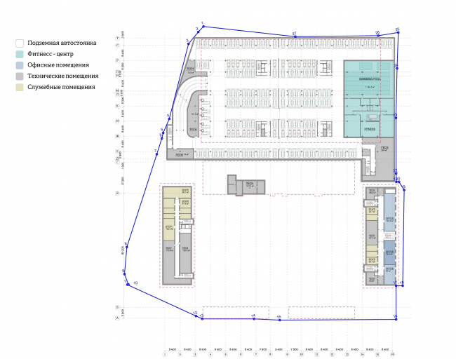 """""""Yolki-Park"""" multifuctional complex. Plan of the -1st floor © The Fourth Dimension"""