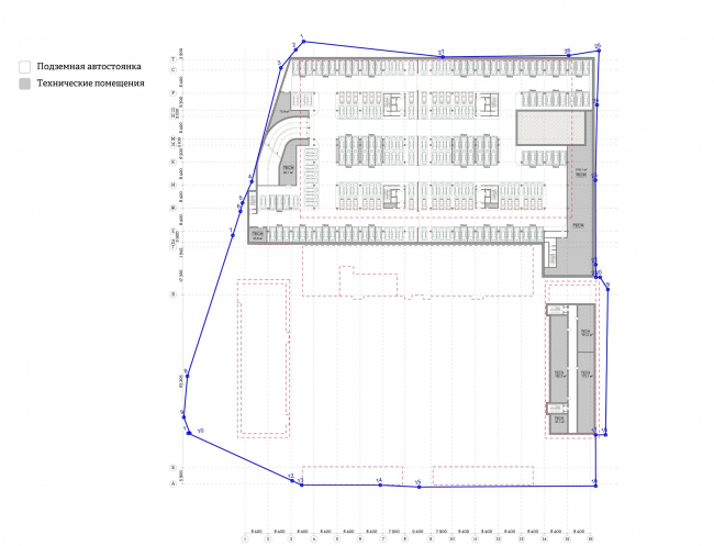 """""""Yolki-Park"""" multifuctional complex. Plan of the -2nd floor © The Fourth Dimension"""
