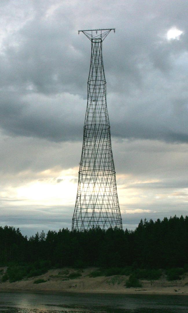 Шуховская башня на Оке. Фото: Vladimir Tomilov via Wikimedia Commons. Лицензия CC BY 2.5