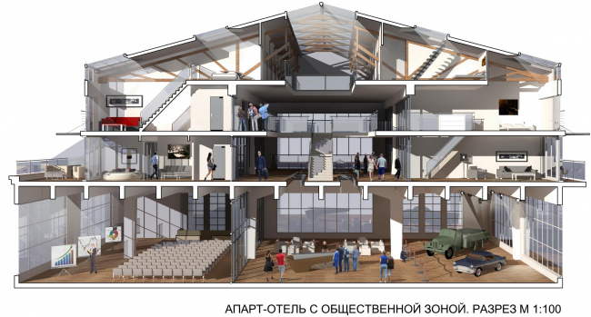 Архитектор Сергей Туманин предложил создать апарт–отель в железобетонных пакгаузах вдоль Оки. Это мог быть один из возможных вариантов их использования. Жаль, в августе от этой недвижимости избавились в пользу парковки для ЧМ 2018