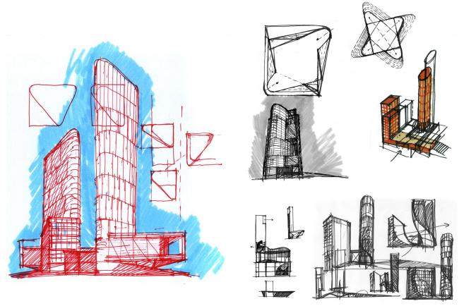 Versions and theme search. Housing complex with an underground parking garage on the Krasnopresnenskaya Embankment © Sergey Skuratov Architects