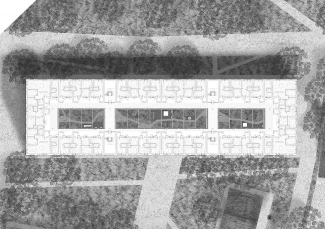 Проект Евгении Хашимовой, 3 курс БВШД. Новая Хохловка. Типовой жилой этаж. Изображение предоставлено БВШД