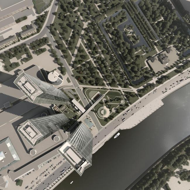 Housing complex with an underground parking garage on the Krasnopresnenskaya Embankment © Sergey Skuratov Architects