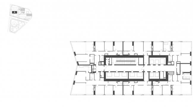 """Housing complex with an underground parking garage on the Krasnopresnenskaya Embankment. Block """"A"""", floors 4-16 © Sergey Skuratov Architects"""