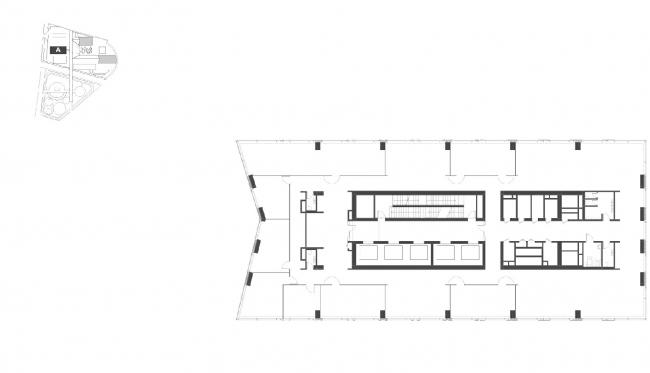 """Housing complex with an underground parking garage on the Krasnopresnenskaya Embankment. Block """"A"""", 58th floor (offices) 0 © Sergey Skuratov Architects"""
