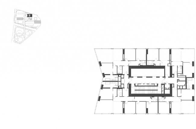"""Housing complex with an underground parking garage on the Krasnopresnenskaya Embankment. Block """"B"""", floors 4-16 © Sergey Skuratov Architects"""