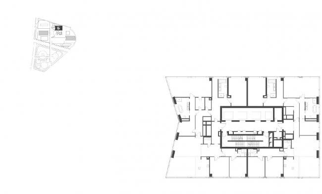 """Housing complex with an underground parking garage on the Krasnopresnenskaya Embankment. Block """"B"""", Floor 60 (penthouse) © Sergey Skuratov Architects"""