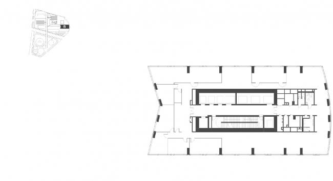 """Housing complex with an underground parking garage on the Krasnopresnenskaya Embankment. Block """"B"""", floors 15-16 (offices) © Sergey Skuratov Architects"""