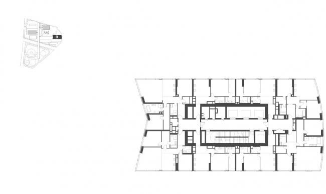 """Housing complex with an underground parking garage on the Krasnopresnenskaya Embankment. Block """"B"""", floors 18-23 © Sergey Skuratov Architects"""