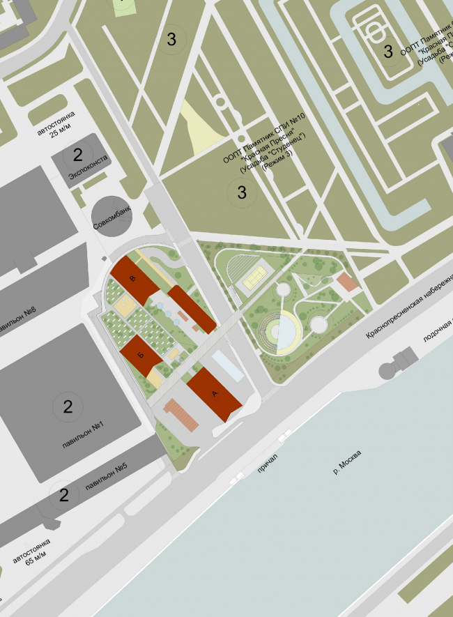 Housing complex with an underground parking garage on the Krasnopresnenskaya Embankment. Location plan © Sergey Skuratov Architects