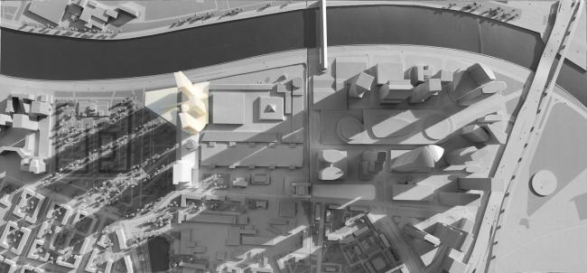 ЖК с подземной автостоянкой на Краснопресненской набережной. Макет © Сергей Скуратов ARCHITECTS