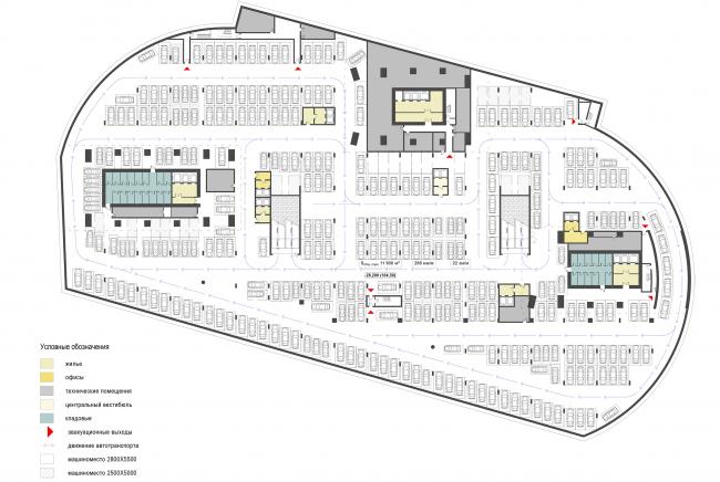 Housing complex with an underground parking garage on the Krasnopresnenskaya Embankment. -5th floor at the mark -28.200 © Sergey Skuratov Architects