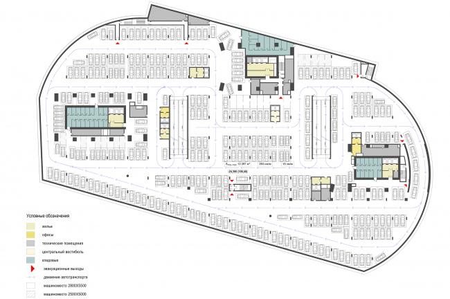 ЖК с подземной автостоянкой на Краснопресненской набережной. -4 этаж на отметке -24,300 © Сергей Скуратов ARCHITECTS