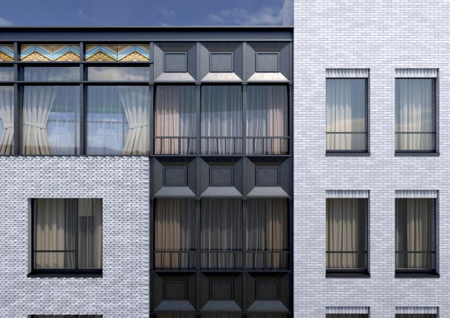 Конкурсный проект реновации первой образцовой типографии. Корпус 6. Фрагмент фасада © Архитектурная мастерская «Группа АБВ»