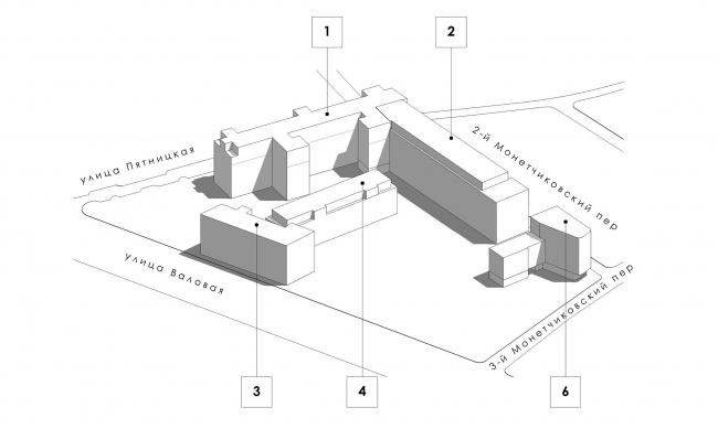 Конкурсный проект реновации первой образцовой типографии. Схема комплекса © Архитектурная мастерская «Группа АБВ»