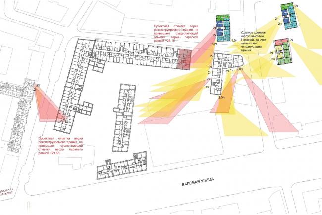 Конкурсный проект реновации первой образцовой типографии. Инсоляционный план. Проверка © Архитектурная мастерская «Группа АБВ»