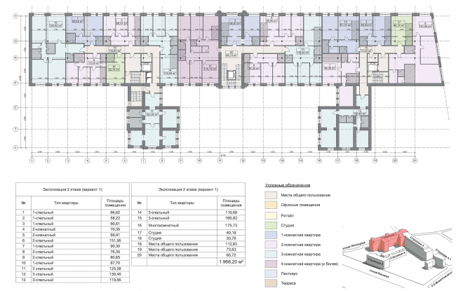 Contest project of renovating the First Exemplary Printing Works. Building 1. Plan of the 2nd floor © ABV Group