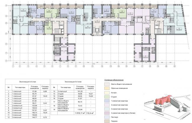 Конкурсный проект реновации первой образцовой типографии. Корпус 1.  План 5 этажа © Архитектурная мастерская «Группа АБВ»