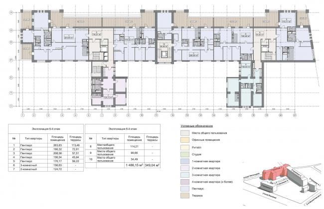 Конкурсный проект реновации первой образцовой типографии. Корпус 1. План 6 этажа © Архитектурная мастерская «Группа АБВ»