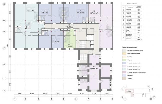 Конкурсный проект реновации первой образцовой типографии. Корпус 1. План 1 секции © Архитектурная мастерская «Группа АБВ»