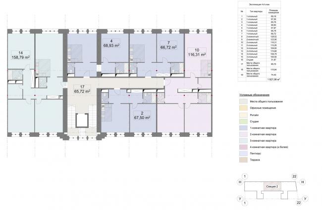 Конкурсный проект реновации первой образцовой типографии. Корпус 1. План 2 секции © Архитектурная мастерская «Группа АБВ»