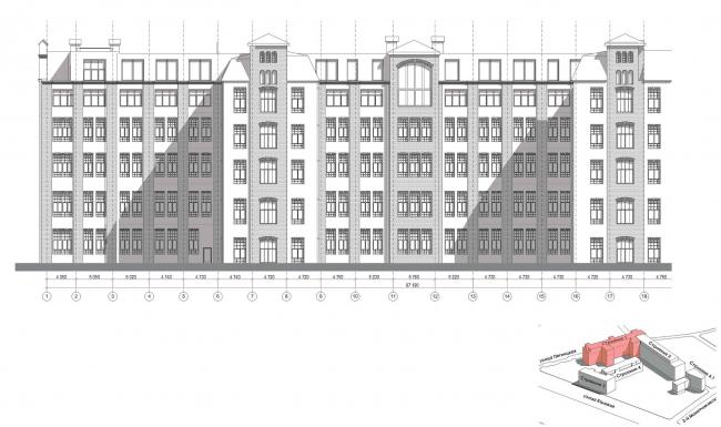 Конкурсный проект реновации первой образцовой типографии. Корпус 1. Дворовый фасад © Архитектурная мастерская «Группа АБВ»