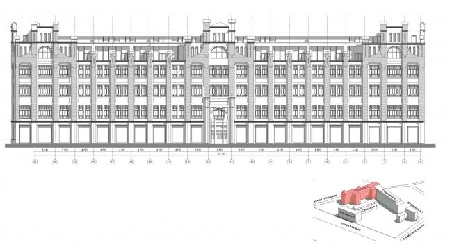 Конкурсный проект реновации первой образцовой типографии. Корпус 1. Главный фасад © Архитектурная мастерская «Группа АБВ»