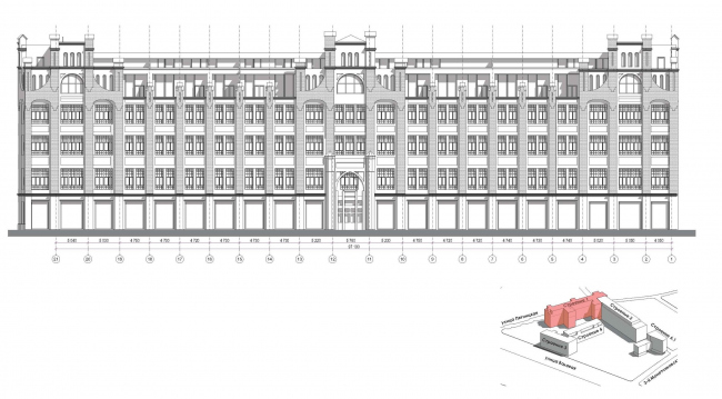 Contest project of renovating the First Exemplary Printing Works. Building 1. The main facade © ABV Group