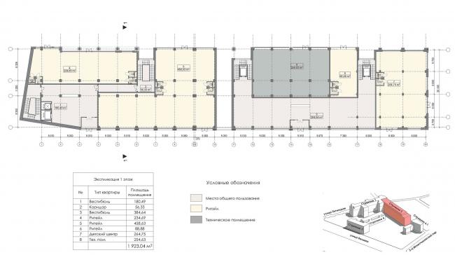 Конкурсный проект реновации первой образцовой типографии. Корпус 2. План первого этажа © Архитектурная мастерская «Группа АБВ»