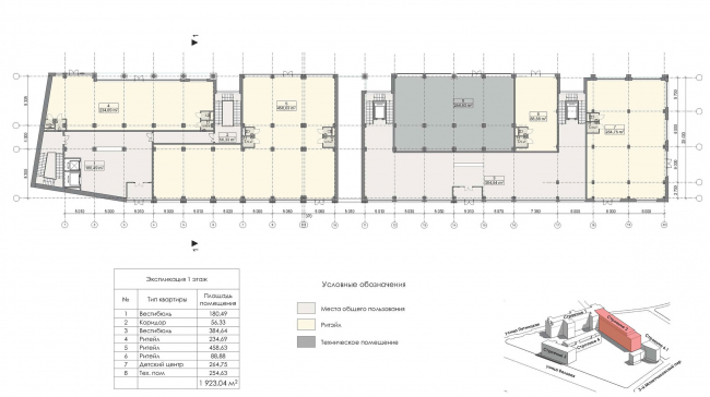 Contest project of renovating the First Exemplary Printing Works. Building 2. Plan of the first floor © ABV Group