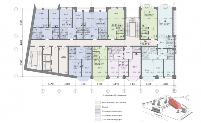 Конкурсный проект реновации первой образцовой типографии. Корпус 2. Фрагмент плана типового этажа. Секция 1. Вариант 1 © Архитектурная мастерская «Группа АБВ»